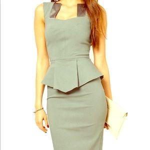 Grey BodyCon Business Peplum Dress